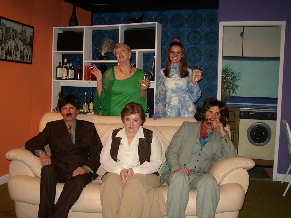 "The Cast & Set Left to right: Stewart Hiorns (""Lawrence""), Julie Greenwood (""Beverly""), Denise Currell (""Susan""), Helen Gallagher (""Angela""), Ian Evans (""Tony"")."