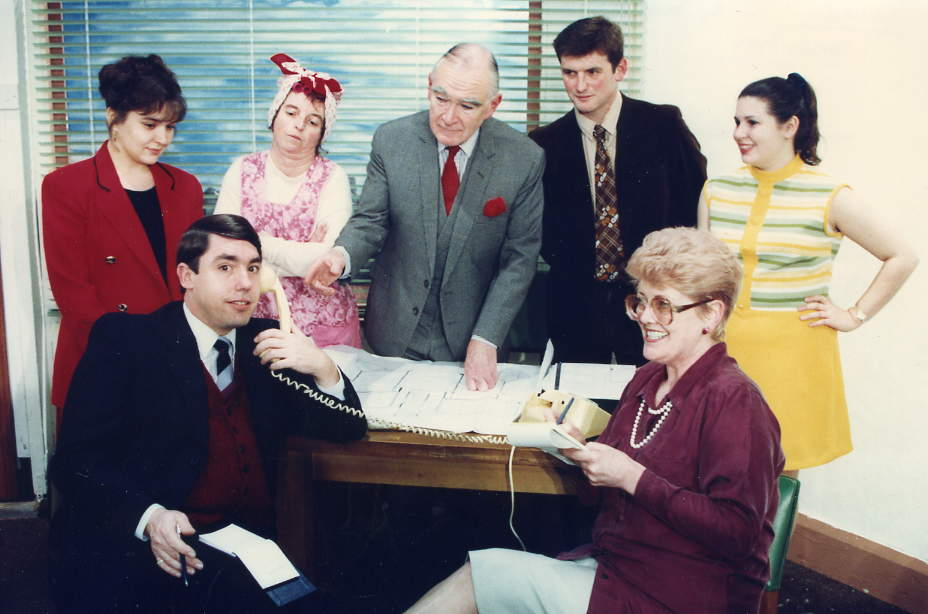 "The Cast Left to right: Claire Hardy (""Claire""), David McOnie (""Baxter""), Donna McOnie (""Mrs Piper""), Robin Wayne (""Richard""), Ian Evans (""Robert""), Julie Greenwood (""Marian""), Simone Hazell (""Vickie"")."