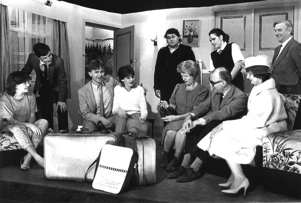 "The Cast Left to right: Joanne Griffiths (""Debby""), Edward Jones (""Jeremy""), Andrew Evason (""Mike""), Maria Clee (""Diane""), Martin Rowlands (""DI Allenby""), Brenda Jones (""Beatrice""), Robin Wayne (""John""), Pippa Wayne (""Paddy""), Della Jukes (""Joan""), Bill Riseborough (""Harold"")."