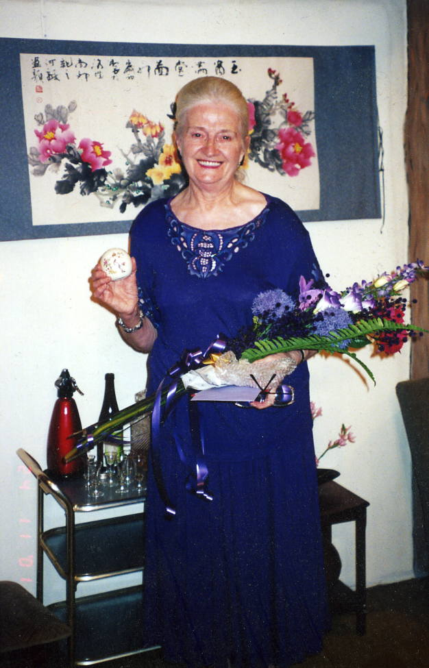 Presentation Director/Producer Dorothy Morris with gift for last production (of record 31) as director.