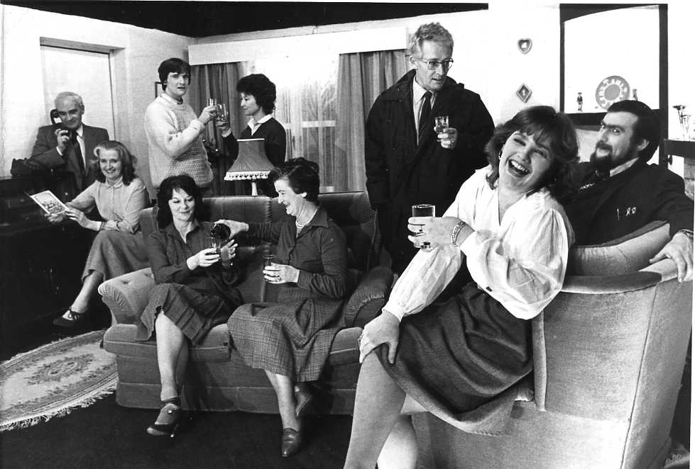 "The Cast Standing, left to right: Sid West (""Melvyn""), Philip Bramley (""Victor""), Mair Morgan (""Pat""), Brian Shaw (""Edward""). Sitting, left to right: Dorothy Morris (""Joyce""), Jackie Cooper (""Sheila""), Brenda Jones (""Delia""), Caroline Jones (""Greta""), David Spear (""Clive"")."