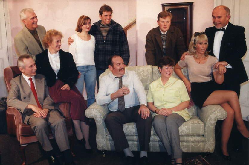 "The Cast Standing, left to right: Stewart Hiorns (""Melvyn""), Helen Smith (""Pat""), Ian Evans (""Bobby""), Gareth Lucas (""Victor""), John O'Malley (""Dr Nairn""). Sitting, left to right: Tony Webb (""Edward""), Alison Shepherd (""Sheila""), David Spear (""Clive""), Doreen Davies (""Joyce""), Judi Porter (""Greta"")."