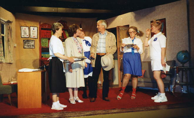 "The Cast & Set Left to right: Alison Shepherd (""Rosemary""), Doreen Davies (""Miss Gaynor""), Dorothy Morris (""Miss Ames""), Stewart Hiorns (""PvD""), Maggie Penn (""Miss Tadema-Jones""), Julie Greenwood (""Miss Hutchins"")."