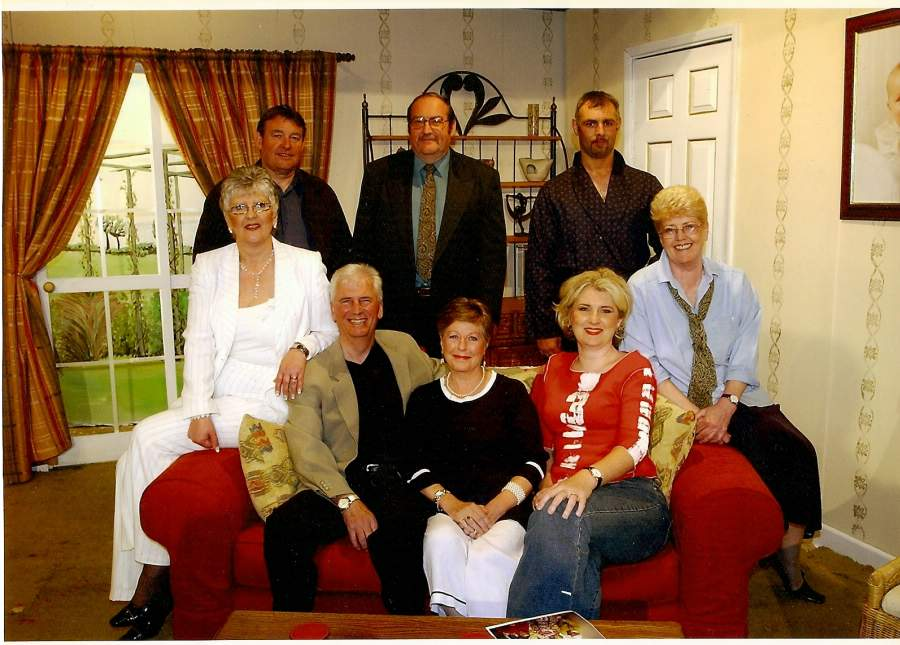 "The Cast at Dress Rehearsal Standing, left to right: Barry Cooper (""Clayton""), David Spear (""Burford""), Tony Currell (""Crozier""). Sitting, left to right: Jean Griffiths (""Dorothy""), Stewart Hiorns (""Robert"" & ""Philip""), Doreen Davies (""Stella""), Heather Cooper (""Vivien""), Julie Greenwood (""Jane"")."
