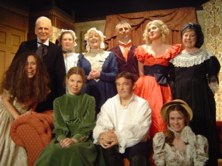 "The cast: Back row, left to right: Stewart Hiorns (""Briggs""), Laura Sims (""Leah""), Julie Greenwood (""Mrs Fairfax""), Tony Currell (""Mason""), Heather Cooper (""Blanche""), Doreen Davies (""Lady Ingram""), Front row, left to right: Carol Rood (""woman""), Sian Cole (""Jane Eyre""), Barry Cooper (""Mr Rochester""), Helen Gallagher (""Adele"")."