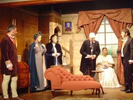 "Scenes from the play. (i) Left to right: ""Mason"", ""Leah"", ""Mrs Fairfax"", ""Briggs"", ""Jane Eyre"" and ""Mr Rochester""."