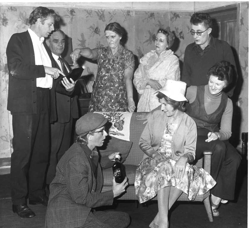 "The Cast Standing, left to right: Geoff Badham (""Sam""), Sid West (""Reuben""), Dorothy Morris (""Alice Louise""), Patricia Quick (""Mabel""), Brian Shaw (""Terry""). Sitting, left to right: Brian Keal (""Joe""), Margaret Lloyd (""Lucy""), Brenda Jones (""Susan"")"