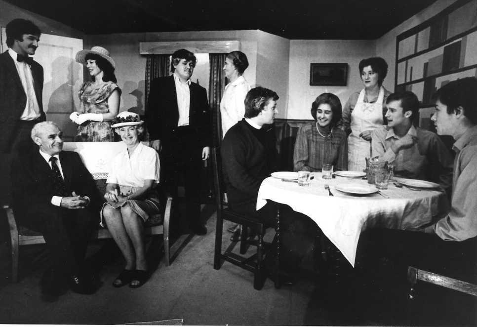 "The Cast Left to right: Rodney Fryer (""Lawrence""), Sid West (""Dr Haydock""), Jackie Cooper (""Anne""), Margaret Lloyd (""Miss Marple""), Martin Rowlands (""Slack""), Dorothy Morris (""Mrs Price-Ridley""), Barry Cooper (""Vicar""), Felicity Harris (""Griselda""), Brenda Jones (""Mary""), Alex Jones (""Dennis""), Michael Kavanagh (""Ronald"")."