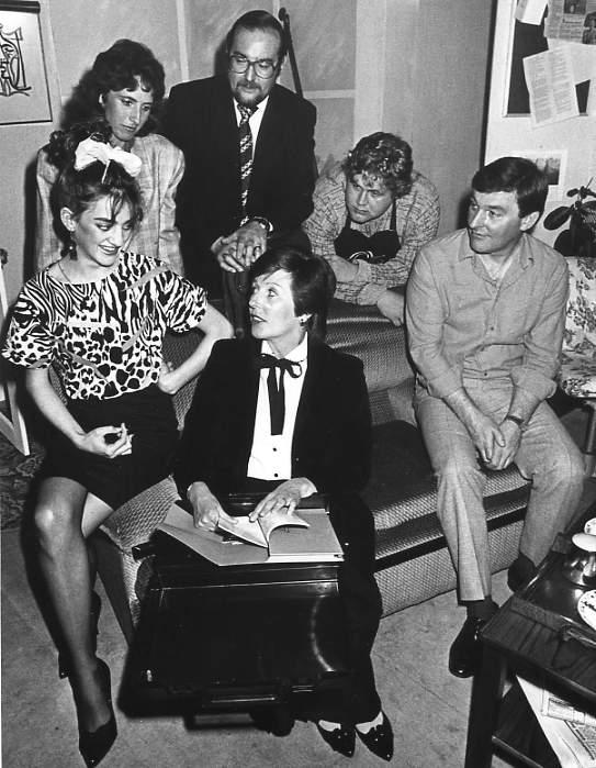 "The Cast Left to right: Carol Shepherd (""Lucy""), Judi Porter (""Sarah""), David Spear (""Dodds""), Doreen Davies (""Lens""), Martin Rowlands (""Albert""), Barry Cooper (""Tom"")."