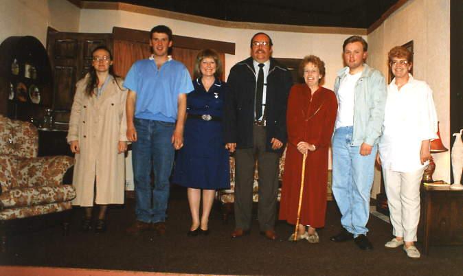 "The Cast at Rehearsal Left to right: Catherine Williams (""Katherine""), Ian Evans (""Michael""), Doreen Davies (""Laura""), David Spear (""Thorne""), Alison Shepherd (""Marion""), Gareth Lucas (""Raymond""), Julie Greenwood (""Doris"")."