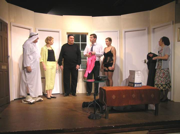 "Some of the cast and main set: Left to right: Barry Cooper (""Frederick""), Sian Cole (""Belinda""), David Spear (""Selsdon""), Jaimes Cooper (""Gary""), Laura Sims (""Brooke""), Carol Rood (""Dotty"")."