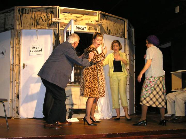 "Some of the cast 'backstage'. Left to right: Stewart Hiorns (""Lloyd""), Laura Sims (""Brooke""), Sian Cole (""Belinda""), Carol Rood (""Dotty"")."