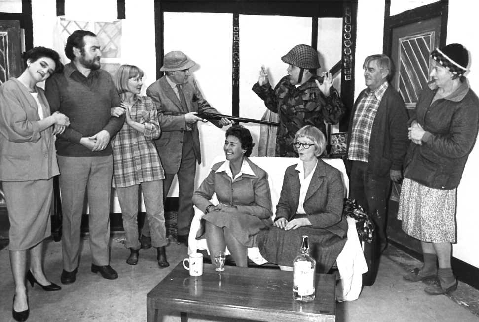 "The Cast Left to right -- Carol Shepherd (""Patricia""), David Spear (""Chester""), Jill Usher (""Carol""), Robin Wayne (""Lord Elrood""), Felicity Harris (""Lady Elrood""), Martin Rowlands (""Sgt Everest""), Brenda Jones (""Miss Partridge""), Bill Riseborough (""Abel""), Dorothy Morris (""Mrs Bounty"")"