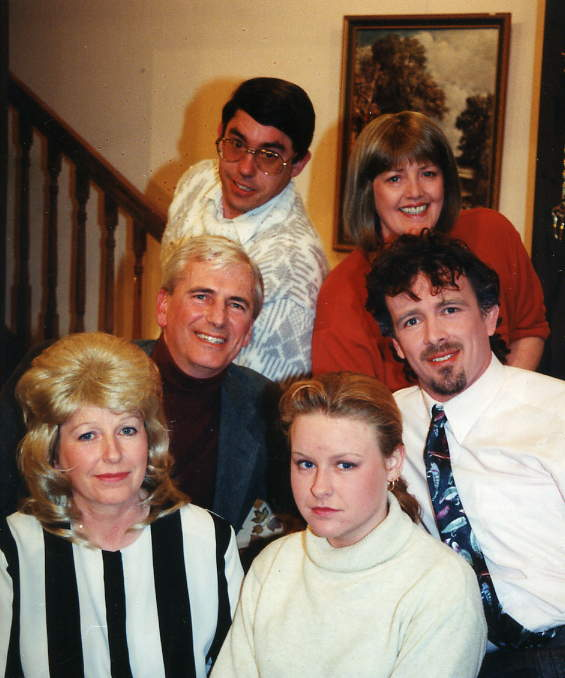 "The Cast Back, left to right: David McOnie (""Cliff""), Julie Greenwood (""Joan""). Middle, left to right: Stewart Hiorns (""Stephen""), Ben Cantellow (""Tony""). Front, left to right: Doreen Davies (""Norma/Diane""), Beth Rowland (""Sheila"")."