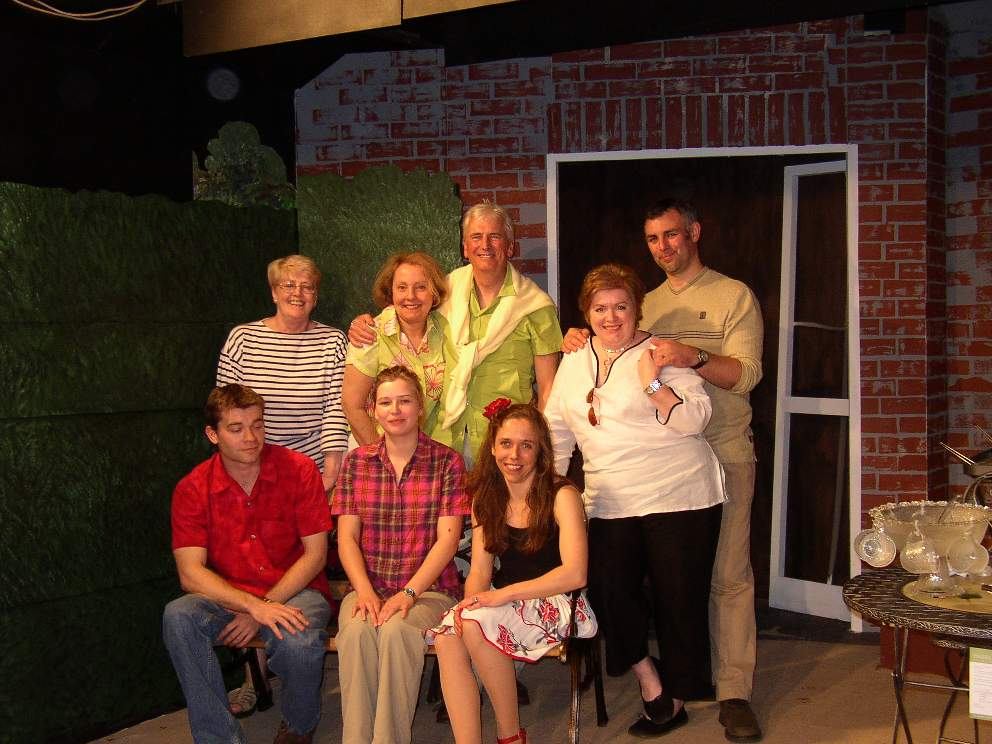 "The cast Standing, left to right: Julie Greenwood (""Pearl""), Lynne Turner (""Joyce""), Stewart Hiorns (""Teddy""), Denise Currell (""Deirdre""), Tony Currell (""Derek""). Front, left to right: Jaimes Cooper (""Nick""), Laura Sims (""Roz""), Carol Rood (""Jessica"")."